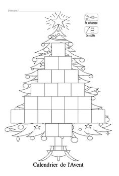 Bricolage Noël - fabriquer son calendrier de l' avent en sapin de Noël gratuit en coloriage Christmas Tree Clipart, Christmas Paper Crafts, Christmas Projects, Kids Christmas, Christmas Worksheets, Christmas Activities, Christmas Printables, Christmas Cards Drawing, New Year's Crafts