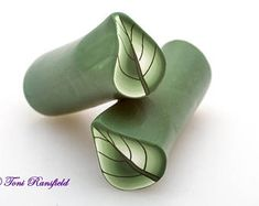Christmas Green Shaded Leaf Polymer Clay Cane, Raw polymer Clay Cane, Millefiori Polymer Clay