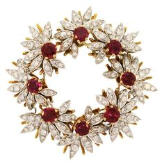 Ruby and Diamond Wreath Brooch
