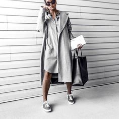 always a grey kind of day. monochrome style never gets old for me, plus, zero thinking time when planning your wardrobe. cheers to the week!  __________  @sauthsofficial @shoesofprey #sauths #shoesofprey #greysneakers #allgrey #greystyle #monochromestyle #minimalchic #minimalstyle #minimalistfashion #allwhite #whiteaddict #fashionblogger #luxuryfashion #overcoat #shirtdress    #Regram via @dayinmydreams