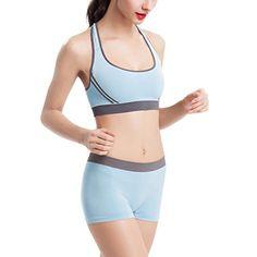 0768b3dfb4 Topmelon Women Padded Sports Yoga Bra Racerback Athletic Vest Gym Fitness  Shorts Set