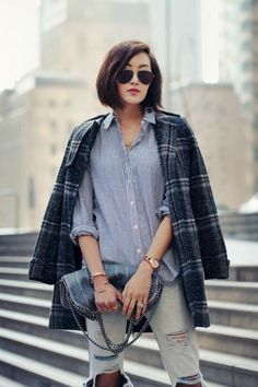 chambray + distressed jeans + plaid boyfriend coat
