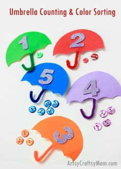 Umbrella Counting & Color Sort - What a brilliant STEM idea for your toddler/preschooler to celebrate Umbrella Day. Letter U craft, Spring craft or even when yu are holed up inside on a rainy day. This simple activity promotes fine-motor skills and Preschool Letters, Letter Activities, Preschool Activities, Spring Activities, Toddler Activities, Learning Activities, Spring Preschool Theme, Make Kylie Jenner, Letter U Crafts