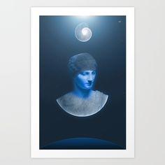 Inspired by Earth, our beautiful blue planet, I chose to interpret it as the goddess Gaea with a fibonacci shell as the moon shining down on her.