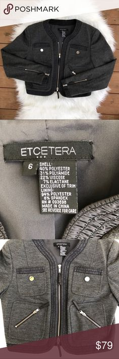[Etcetera] Gray and Black Moto style Jacket - 6 Perfect used condition Etcetera Jacket. Size 6. Length is 17 inches. Arm length is 24 inches. Pit to pit (zipper closed) is 15 inches. Moto style, lots of fun zippers! Length is a cropped length. Etcetera Jackets & Coats Blazers