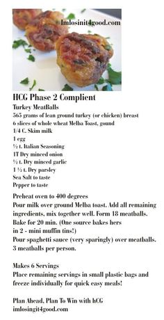 hCG Phase 2 Diet  - Turkey Meatballs   http://www.imlosinit4good.com/   For Effective hCG