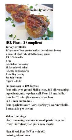 hCG Phase 2 Diet  - Turkey Meatballs   http://www.imlosinit4good.com/   For Effective hCG