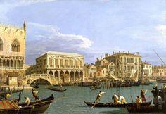Giovanni Antonio Canal - Pohled na Riva degli Schiavoni, Benátky