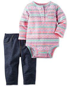 Carter's Baby Girls' 2-Pc. Long-Sleeve Aztec-Print Henley Bodysuit & Pull-On Jeans Set   macys.com