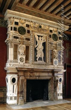 Stone Fireplace Surround, Fireplace Design, Fireplace Mantels, Fireplaces, Foyers, Renaissance, Old English Font, Vintage Stoves, Gothic Furniture