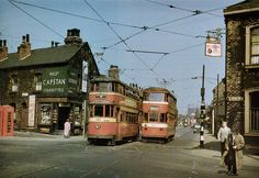 "aenglaland: ""Two trams pass eachother in Leeds in A common sight, now long lost after the unfortunate scrapping of the traditional tram systems across England. Beeston Leeds, Leeds Pubs, Leeds City, London Transport, Public Transport, Old Pictures, Old Photos, Leeds England, Buses And Trains"