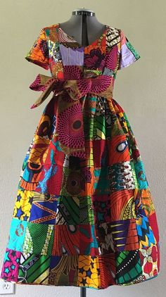 African Wax Print Genuine Patchwork Midi Dress With Pockets. dutch wax, kente, kitenge, dashiki, African styles, African prints, Nigerian style, senegal fashion, ankara styles, african clothes, dashiki, african dress, african clothing, african print dresses, African dress styles, fallfashion, womens fashion#ankara#africanprint#kente