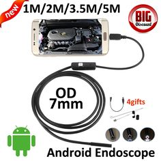 OD 7mm lens OTG Micro USB Android Endoscope Camera 5M 3.5M 2M 1M Snake Snake USB Pipe Waterproof  6LED OTG USB Borescope Camera #men, #hats, #watches, #belts, #fashion, #style, #sport
