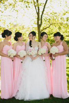 Pink Alfred Angelo Bridesmaids | photography by www.jamiedelaine.... | floral design by www.flowerfactory... | event design by www.uprightdecor....