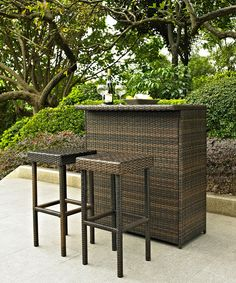 Look at this Wicker Palm Harbor Three-Piece Outdoor Bar Set on #zulily today!