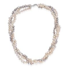 Fresh Water White and Dyed Silver Grey Pearl Necklace (Size 18) in Silver Tone 150.000 Ct.