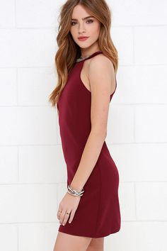 Comely Beaded Burgundy Dress at Lulus.com!