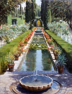 World Class Painting by *Péter Böjthe*. 50 x 38 cm. Oil on canvas. Persian Garden, Grenade, South African Artists, Garden Park, Country Landscaping, Garden Painting, Oil Painters, New Artists, Islamic Art