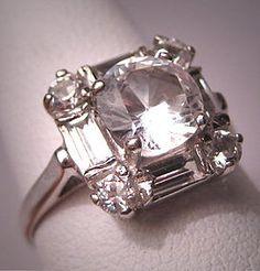 Antique White Sapphire Wedding Ring Vintage Art Deco - yes please.