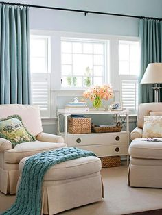 Love this bedroom sitting area.  So calming!