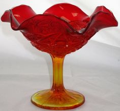 "LE Smith Glass ""Amberina"" Compote"