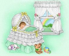 Baby in bassinet By Artist Penny Parker