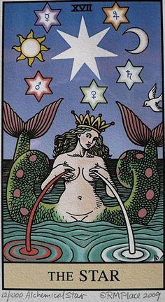 The Star tarot card. Alchemical Tarot by Robert Place. Tattoos 3d, Star Tarot, Art Magique, Tarot Major Arcana, Spiritus, Tarot Readers, Art Graphique, Oracle Cards, Tarot Decks