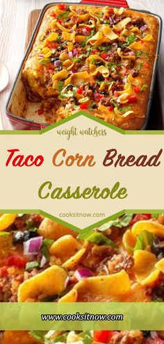A whole can of chiles adds to this Taco CornBread Casserole. Meat Recipes, Gourmet Recipes, Mexican Food Recipes, Cooking Recipes, Healthy Recipes, Mexican Dishes, Healthy Food, Cooking Pasta, Cooking Oil