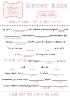 """Items similar to Wedding Mad Libs """"Guest Libs"""" - DIY Printable - Stag & Doe, Engagement Party, Wedding Guestbook Alternative Wedding Guest List, Brunch Wedding, Diy Wedding, Party Wedding, Dress Wedding, Wedding Ideas, Wedding Decorations, Sister Wedding, Friend Wedding"""