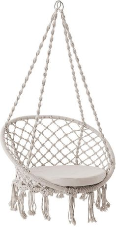 Hanging Chair From Ceiling Code: 1004890189 Teen Room Decor, Bedroom Decor, Indoor Swing, Indoor Outdoor, Outdoor Living, Macrame Hanging Chair, Hanging Chairs, Window Hanging, Cute Bedroom Ideas