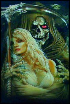 Blonde n Reaper. Grim Reaper Art, Grim Reaper Tattoo, Don't Fear The Reaper, Arte Horror, Horror Art, Dark Fantasy Art, Dark Art, Evil Art, Skull Art