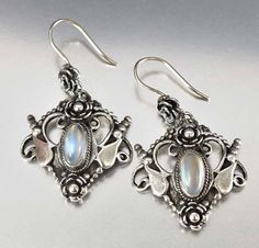 Antique Moonstone Earrings Arts & Crafts Jewelry