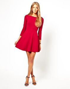 Image 4 of French Connection Skater Dress With long Sleeves