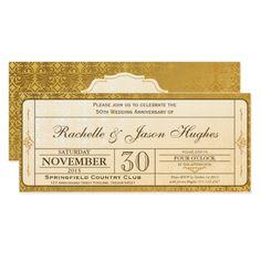 50.o Boleto de la invitación del aniversario  o cumpleaños