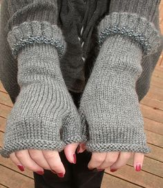 Beaded ruffled hand knit fingerless gloves grey by burnybunch $38.00