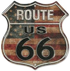 Route 66 Stars And Stripes Cartel de chapa Route 66 Usa, Route 66 Sign, Pub Vintage, Vintage Signs, Garage Signs, Old Signs, Cool Posters, American Flag, Vintage Ads
