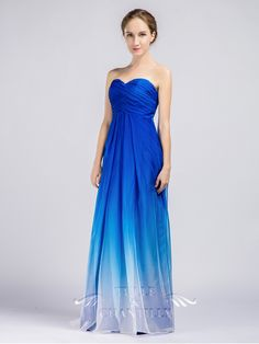 Blue Ombre Strapless Sweetheart Long Bridesmaid Dresses 2