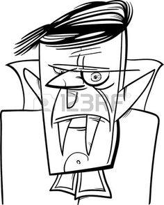 Preto e branco dos desenhos animados Ilustra o de Halloween assustador vampiro ou Dr cula Banco de Imagens