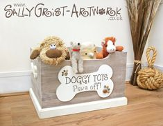 Wooden Doggy Toy Box - Handmade, unique and totally GORGEOUS! - Wooden Doggy Toy Box - Handmade, unique and totally GORGEOUS! Doggy Toy Box in Driftwood Effect (complete with the cutest pawprint pebbles! Shabby Chic Plaques, Dog Toy Box, Dog Toy Basket, Dog Toy Storage, Storage Beds, Unique Toys, Dog Rooms, Toy Boxes, Handmade Toys
