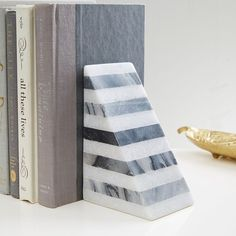 Striped Angle Geometry Bookend is part of Home Accessories Decor West Elm - Modern marble In black and white, these hefty bookends keep your bookshelves in geometric order Decorative Objects, Decorative Accessories, Home Accessories, Decorative Pillows, Decorative Accents, Decor Pillows, West Elm, Wood Bookends, Modern Bookends