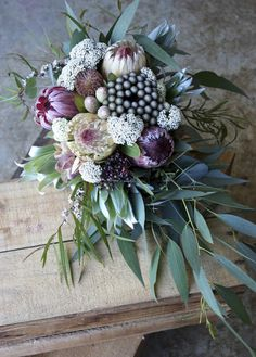 January Wedding Bouquet Soft pinks and mint greens were the colours for this January wedding. The bride loved eucalyptus and gum nuts. Beautiful Flower Arrangements, Floral Arrangements, Beautiful Flowers, May Flowers, Floral Bouquets, Wedding Bouquets, Protea Bouquet, Flor Protea, Floral Wedding