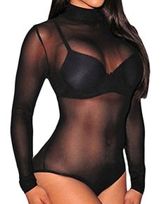 Sexy Womens Black Mesh Unlined Mock Neck Corset Bodysuit It is very sexy ,the fashion design make you more charming.Mock NeckSheer Mesh BodiceLong SleevesPerfect with pasties and high waisted hot pants, or teamed up with a night in with your boo coats, hoodies, Jumpsuit, Knitwear, nightwear, oversized sweaters, Playsuit, Shirts, Tops