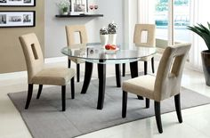 CM3127T Dining Table With 4 Chairs 5Pc.Set Grandam I CollectionAdd modern style to any dining room with this glass top table with frosted glass and an open shelf underneath. 5 Pc Dining Set Sale for $1019