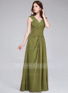 A-Line/Princess V-neck Floor-Length Chiffon Evening Dress With Ruffle Beading Appliques Lace (008026213)