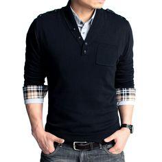 casual men's fashion | men's v-neck sweater simple fashion korean slim personalized button ...