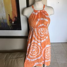 GR- Orange White Tie Die Halter Dress Sz S GR-From the Wardrobe Dept. of TV Show GRACELAND some items may have been worn by cast or crew for filming.  Label-INC INTL Concepts  Style-Gathered neck empire waist sundress. Elastic at back slips over head. Keyholes back, Rhinestones on Skirt Size-S size 2 mannequin, fits a 0,2,4 Falls just below knee Measurements-B-35 Underbust ribcage-30 Waist & Hip are full Length from underarm seam to hem-27 Fits a B/C Cup Color-Tangerine Orange Fabric-100%…