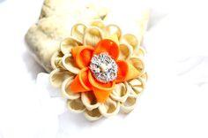 Cream orange flower pin brooch with beaded by AgisyAndIrisCorner, $14.99