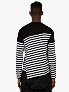 Comme des Garcons Shirt Men's Black Border Stripe Long Sleeve T-Shirt