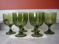 Vintage Set of Six Green Pedestal Beer Goblets | Floor2atBreck - Kitchen & Serving on ArtFire