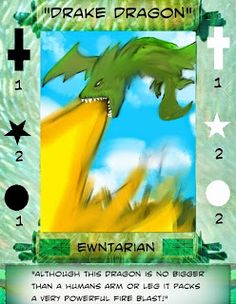F.A.T.E.S.: FATES ewntarian card 3 of 20: Drake Dragon, Illustration Art, Cards, Map, Playing Cards, Maps